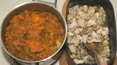 Chicken meat and vegetable ragout n a saucepan - stock footage