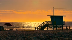 Lifeguard Hut Sunset Beach Silhouette Santa Monica Travel Destination California Stock Footage