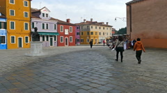 Central square and monument Baldassare Galuppi-Il Buranello-in Burano, Italy Stock Footage