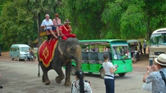 Elephant carrying tourists passes amongst vehicle traffic. Video 3840x2160 Stock Footage