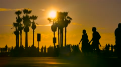 Tourists Beach Sunset Silhouette Palm Trees Nature Beautiful Footage Santa - stock footage