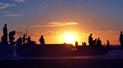 Silhouette Tourists Skateboarding Extreme Skatepark Sunset Footage Enjoyment Stock Footage