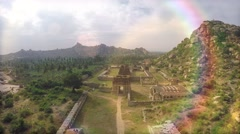 Hampi. Achutaraya Temple. Gopura. Top view. Magic rays. Stock Footage