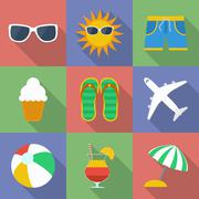 Set of icons of Summer travel theme. Stock Illustration
