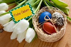 Frohe Ostern card. - stock photo