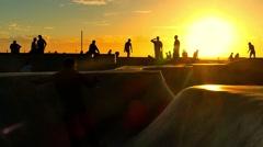 Crowd Extreme Skatepark Sunset Enjoyment Sport Skateboarding People Fun Los Stock Footage