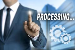Processing browser is operated by businessman Stock Photos