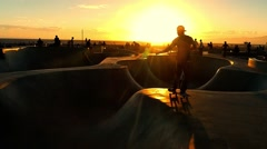 Skateboarding Tourists Sunset Extreme Skatepark Enjoyment Sport Footage Flip - stock footage