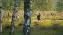 Three children in forest 4 Stock Footage