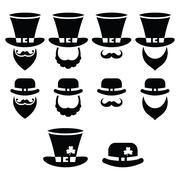 Leprechaun character for St Patrick's Day in Ireland - black icons set Stock Illustration
