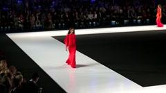 Models walk on the Valentin Yudashkin catwalk. Stock Footage
