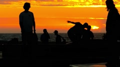 Tourists Sunset Extreme Skatepark Enjoyment Skateboarding Youth Culture Sport Stock Footage