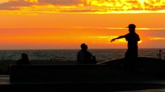 Extreme Skatepark Sunset Tourists Skateboarding Vitality Enjoyment Orange Youth Stock Footage