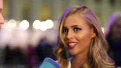 TV presenter Anastasia Smirnova gives interview. Stock Footage