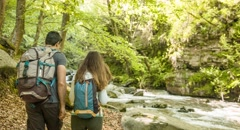 Hiking Couple Exploring Forest River Travel Nature Footage Man Woman Enjoying Stock Footage