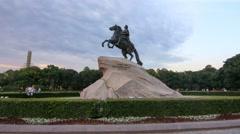 Bronze Horseman - Monument To Peter I in Saint-Petersburg Stock Footage