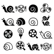 Snails, French snail meal - escargot icons set Stock Illustration