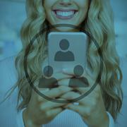 Composite image of beautiful blonde woman smiling and using smartphone - stock illustration