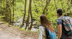 Hiking Couple Exploring Forest Travel Backpackers Nature Footage Trekking Stock Footage