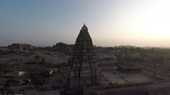 Hampi. Gopura. Virupaksha templ. Sunset. Stock Footage
