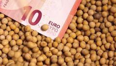 Soybean crop harvesting in Europe Stock Footage