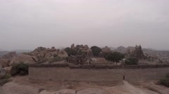 Hampi. Malavanta templ. Top view.  flying over the temple Stock Footage