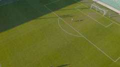 4K Aerial: Missed Penalty Kick at Soccer Stadium Stock Footage