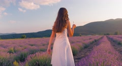 Woman Walking Provence Lavender Field Enjoying Travel Tourism France Nature Stock Footage