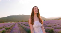 Beautiful Happy Woman Lavender Field Provence Enjoying Travel Tourism France Stock Footage