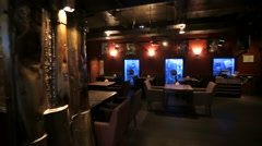 Travel through interior of Mr. Help & Friends bar. Stock Footage