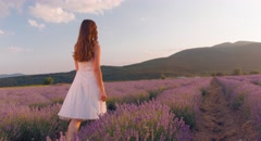 Woman Walking Lavender Field Provence Enjoying France Travel Tourism Nature Stock Footage