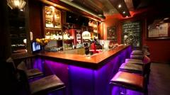 Travel through interior of Mr. Help & Friends bar. Stock Footage