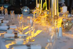 Beautifully decorated table - stock photo
