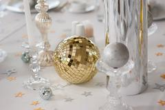 Decorative elements on the holiday table - stock photo