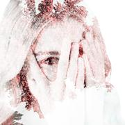 Composite image of beautiful blonde woman hiding behind hands - stock illustration