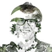 Composite image of smiling blond hipster staring at camera - stock illustration
