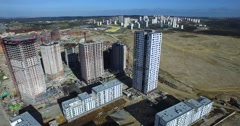 Aerial Footage of Tall Building Construction Stock Footage