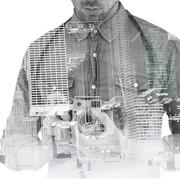 Composite image of mid section of man adjusting camera lens Stock Illustration