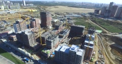 Aerial Footage of Construction Site of Apartments from Top View Stock Footage