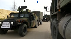 Military Convoy conducts a Deployment Readiness Exercise Stock Footage