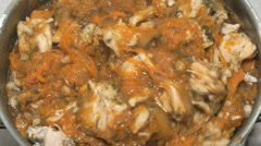 Vegetable stew with meat in a saucepan Stock Footage