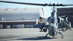Preparing Marine Light Attack Helicopter  AH-1 SuperCobra for close air support Stock Footage