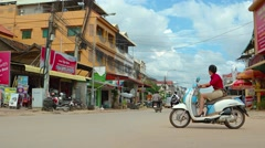Typical Siem Reap traffic, with sound. Video 3840x2160 Stock Footage