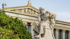 Marble Statue Of The Philosopher Socrates Stock Footage