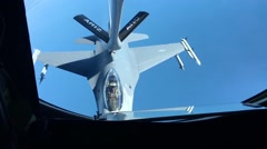 Aerial refueling of jet fighter aircraft Stock Footage