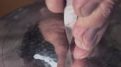 Master goldsmith working with silver Stock Footage