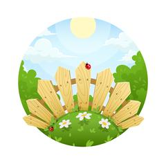 Wooden fence on lawn with flower - stock illustration