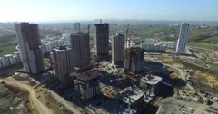 Aerial Footage from Construction Site of Tall Buildings in Istanbul - stock footage