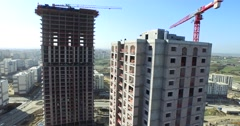 Aerial Detail Footage from Construction of Tall Buildings with Crane in Istanbul Stock Footage