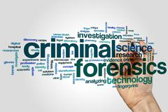 Criminal forensics word cloud Stock Photos